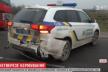 На Львівщині нетверезий військовий в'їхав у машину копів (Відео)