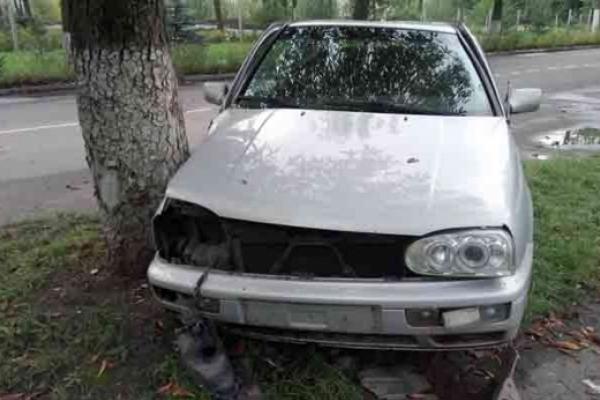 Червоноградець на автомобілі врізався в дерево (Фото)