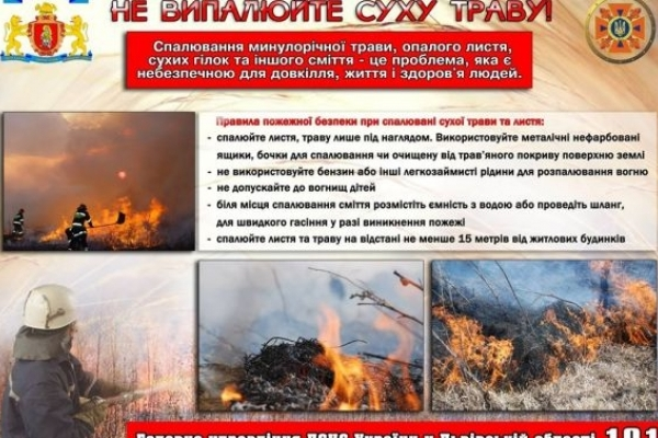 Спалювання сухостою на Львівщині призвело до опіків