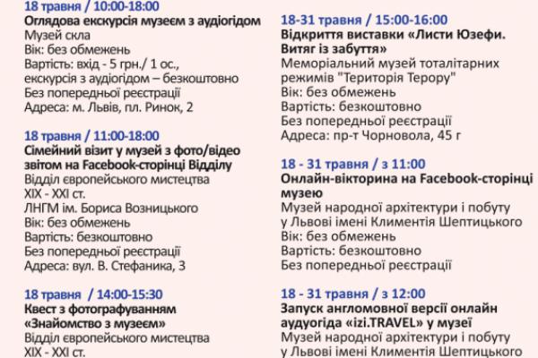 25 музеїв у Львові підготували спеціалізовані заходи (Програма)