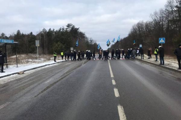 На Львівщині шахтарі перекрили автомобільну трасу