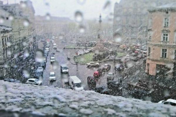 На Львівщині випав мокрий сніг (Відео)